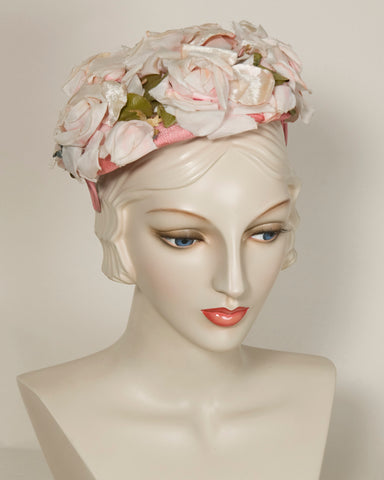 03849VH Vintage Hat with profusion of pale pink vintage roses