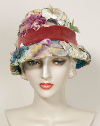 03850VH Saks Fifth Avenue Vintage Hat, floral 50's, multi colored velvet