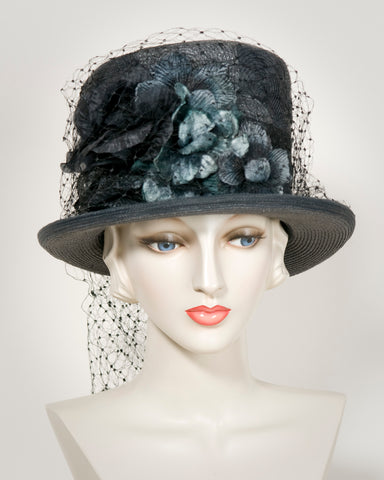601f5e72f2f22c 03854TPPL Top Hat, Paglina braid & horsehair braid, charcoal