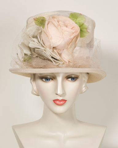 03855TPPL Top Hat, Paglina braid & horsehair braid, blush