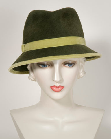 03859MXV Max, Fedora, velour finished felt, olive with pistachio