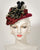 03862DHV Doll Hat, velour finished felt, burgundy with black & gold