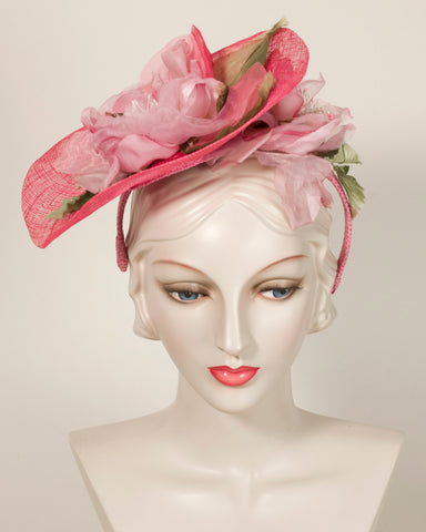 03884WY Whimsy, Paglina braid/sinamay, shades of pink