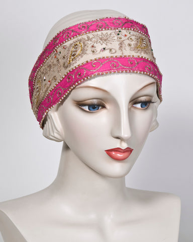 03954HB Headband, fuchsia/tea with gold