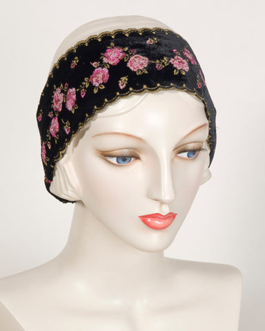0417HB Headband, black with dusty rose