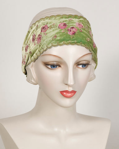 0417HB Headband, chartreuse with dusty rose