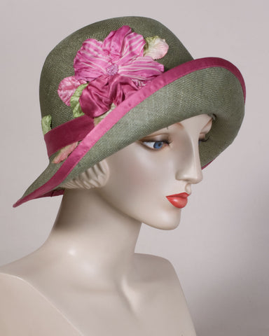 0502CWSI Cloche, sisal straw, olive with hot pink
