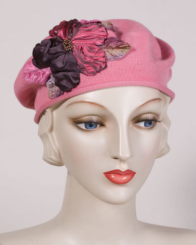 0504SBC Small Beret, cotton, mid-pink