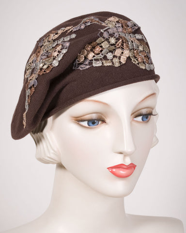 0521SBC Small Beret, cotton, brown