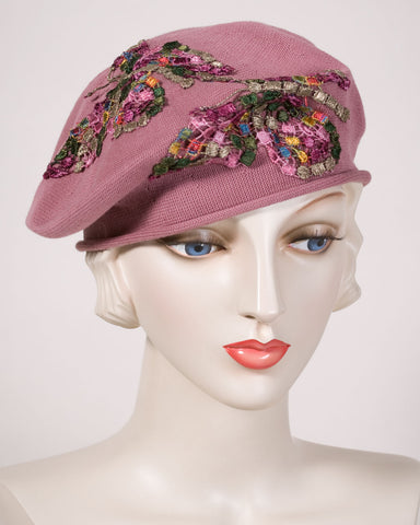 0521SBC Small Beret, cotton, dusty rose