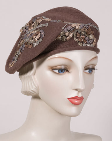 0521SBC Small Beret, cotton, light brown with grey