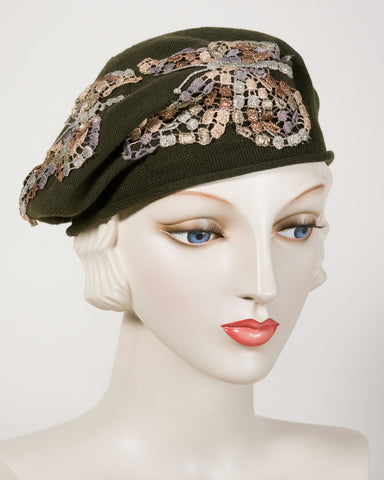 0521SBC Small Beret, cotton, olive with grey
