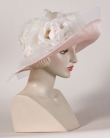0525HZSP Hazel, sisal crown/sinamay brim, natural/pale rose