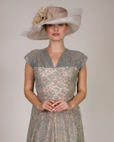 0525VGSP Virginia, sisal crown/sinamay brim, mink with grey