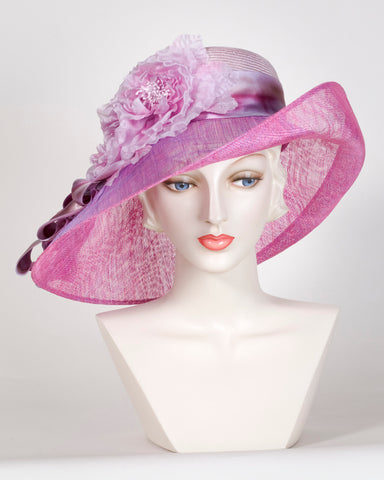 0526VGSP Virginia, sisal crown & sinamay brim, lavender/berry