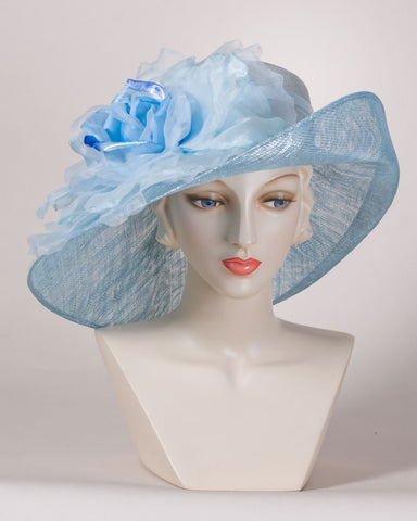 0528VGSP Virginia, sisal crown/sinamay brim, denim with silver