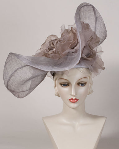 0529FESP Faye, sisal crown/sinamay brim, silver grey with taupe