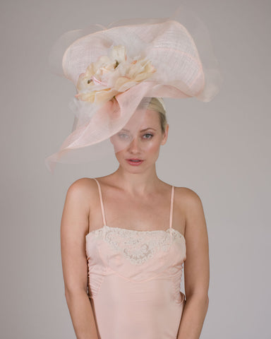 0531FESP Faye, sisal crown/sinamay brim, pale rose