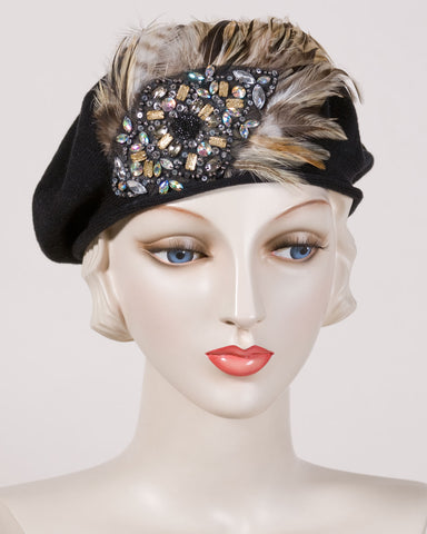 0534SBC Samll Beret, cotton, black with taupe