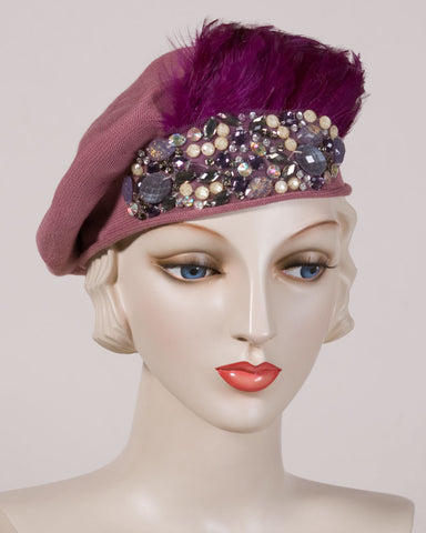0534SBC Samll Beret, cotton, dusty rose with purple