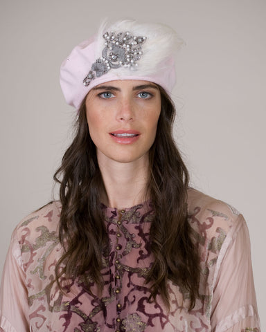 0534SBC Samll Beret, cotton, pale pink with white