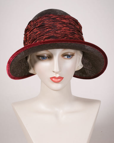 0538EESI Ellie, sisal straw, espresso brown with red