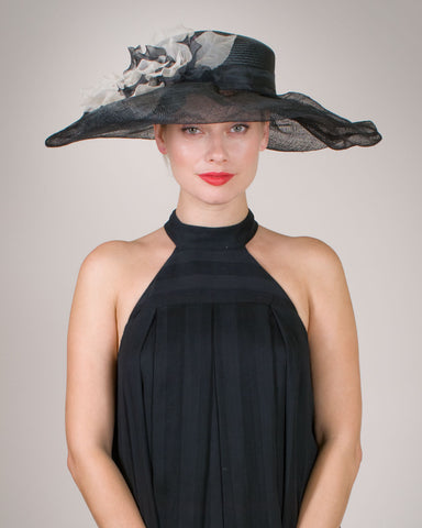 0541LXSP Lexie, sisal crown/sinamay brim, black with ivory