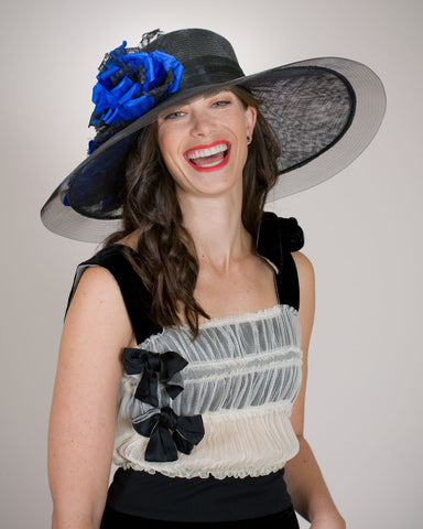 0547KRSP Kristen, sisal crown, sinamay brim, black with blue