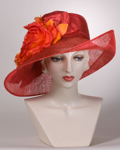 0548VGSP Virginia,  sisal crown/sinamay brim, scarlet with burnt orange