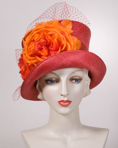 0549KYSI Kelly,  sisal, scarlet with burnt orange
