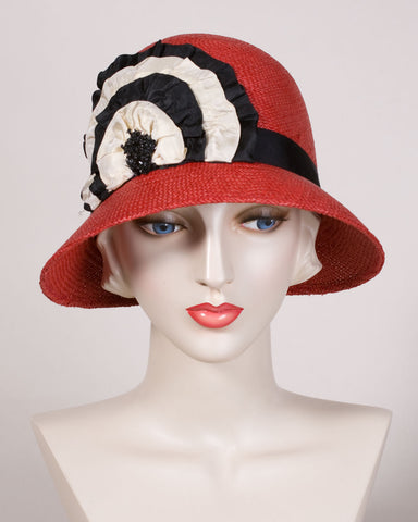 0558 EYPA Emily, Panama straw, scarlet with black & cream