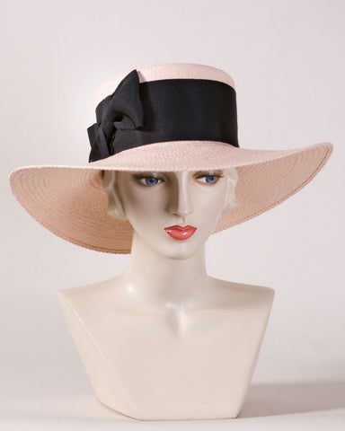0564WSPA Wide Brim Sailor, Panama straw, blush with black