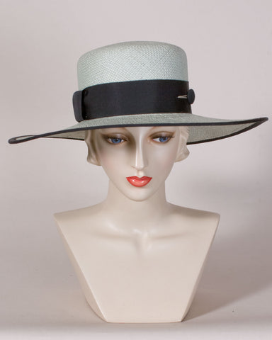 0565WSPA Wide Brim Sailor, Panama straw, mint with black