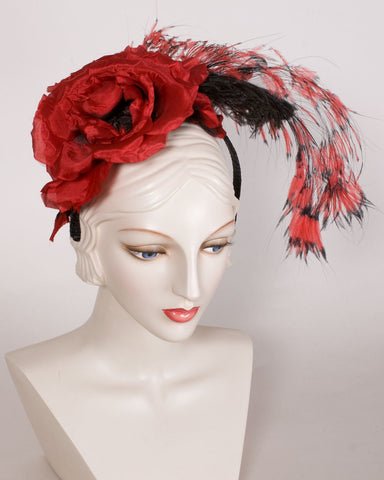 05p20 Whimsy, flower with feathers, scarlet/black