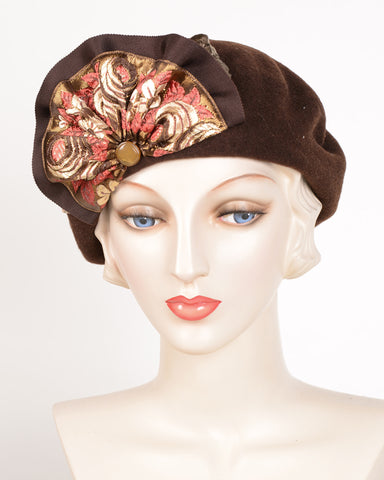 0638BEF Beret, wool felt, brown