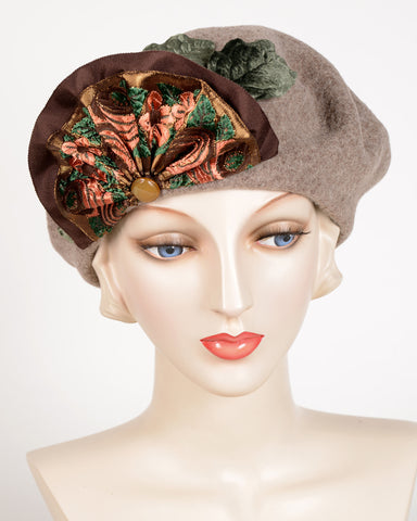 0638BETW Beret, wool felt, taupe
