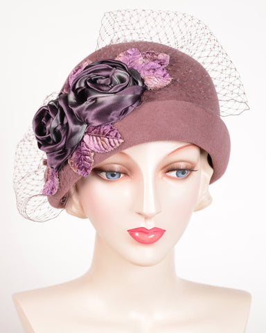 0639CCV 20's Cloche, velour, dusty rose