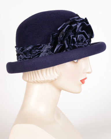 0657RDV Roll Brim Derby, velour, navy