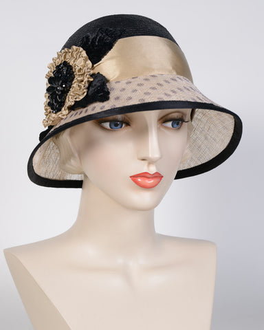 0702KNSP Karen, sisal crown/ sinamay brim, black/natural w/camel