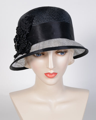 0702SISP Sadie, sisal crown/ sinamay brim, black/lt grey w/black