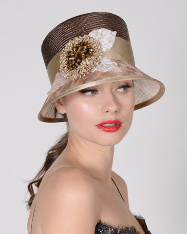 0702DMSP Demi, sisal crown sinamay brim, lt brown/leopard