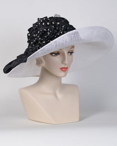 0705SBSP Santa Barbara, sisal crown/sinamay brim, black/white