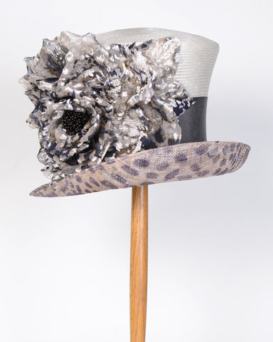 0711KYSP Kelly, sisal crown/sinamay brim, natural/cheetah
