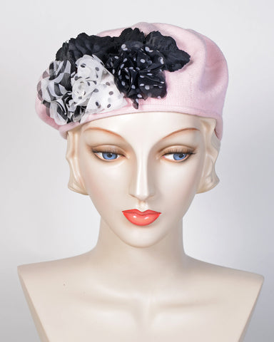 0712SBC Small Beret, cotton, pale pink with black &white