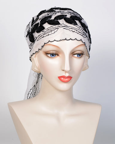 0721 Head Scarf, silk, white with black