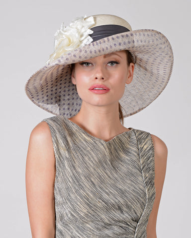 0723GBSP Gabriella, sisal crown/sinamay brim, natural with gunmetal