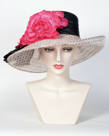 0723GBSP Gabriella, sisal crown/sinamay brim, black/natural with hot pink