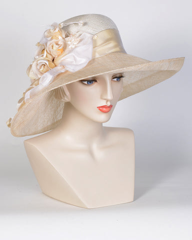 0727GCSP Grace, sisal crown/sinamay brim, natural