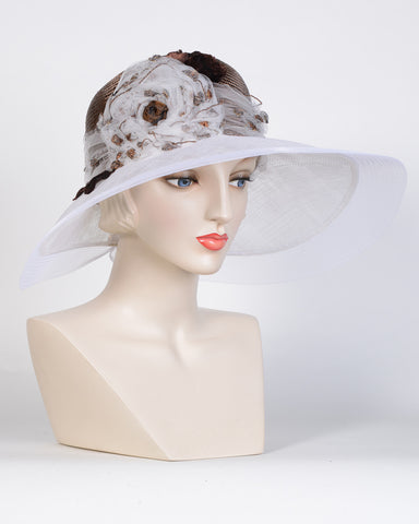 0744ELSP Elizabeth, sisal crown/sinamay brim, copper/white