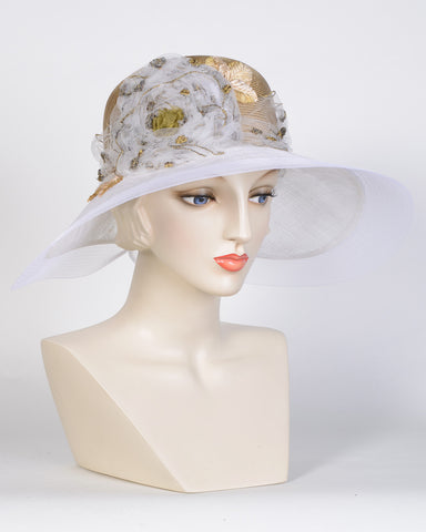 0744ELSP Elizabeth, sisal crown/sinamay brim, old gold/white